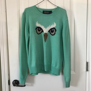 Emma Cook Topshop mint green owl face sweater
